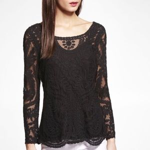 Express Black Lace Embroidered Long Sleeve Sheer